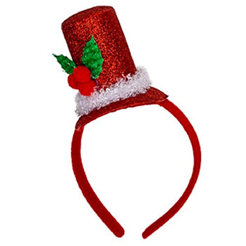 Christmas Fashion Top Hat Headband (Christmas House Mens Glittery Santa Top Hat Headband with Holly - One size - 1/pkg.)
