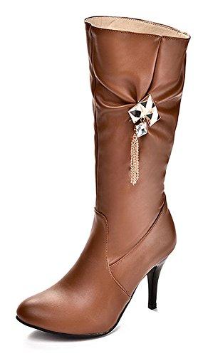 CHFSO Womens Winter Stylish Stiletto Chain Rhinestones Round Toe Zipper High Heel Mid Cuff Boots Yellow jfgS9y