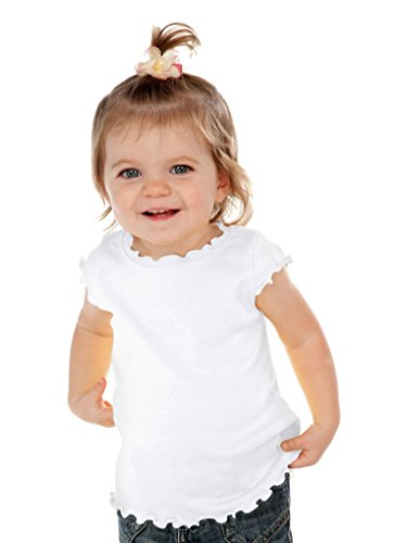 (Kavio! Infants Lettuce Edge Scoop Neck Cap Sleeve Top White 18M)