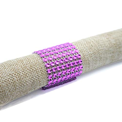 Yuengs 100 PCS Napkin Rings Sparkly Adornment for Wedding/Shower / Party  Napkins wrap (Purple)
