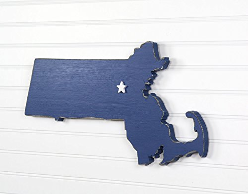 Massachusetts State Shape Wood Cutout Sign Wall Art  18  Wide  20 Paint Colors  Personalized With Choice Of Wooden Dimensional Heart Or Star At Hometown Location