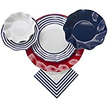 Sophistiplate Disposable Paper Plate Set Classic Navy for 10 Guests, 70 Pieces, Includes: Chargers, Dinner Plates, Salad/Dessert Plates, Deep Bowls, Appetizer/Dessert Bowls, Napkins