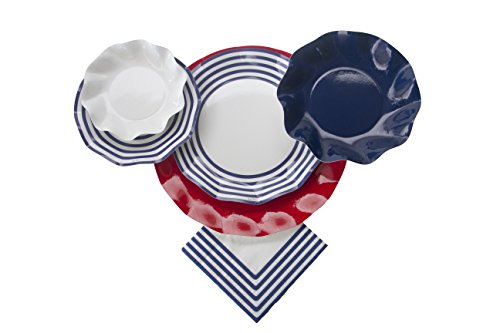 Sophistiplate Disposable Paper Plate Set Classic Navy for 10 Guests 70 Pieces Includes: Chargers Dinner Plates Salad/Dessert Plates Deep Bowls Appetizer/Dessert Bowls -