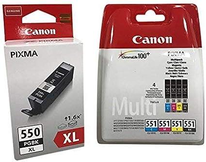 Original Cartuchos de tinta para Canon PIXMA iP7250/ 8750, iX6850, MG 5450/ 5550/ 5650/ 6350/ 6450/ 6650/ 7150/ 7550, MX725/ 925 incl. Bolígrafo - negro XL 4er)
