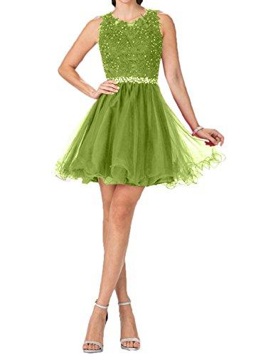 Damen Tanzenkleider Cocktailkleider Hell Charmant Partykleider Kurzes Gruen Promkleider Spitze Olive Gruen Mini Oqd8wn8X