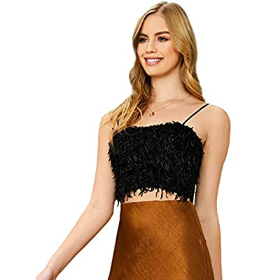 DIDK Women's Sexy Spaghetti Strap Sleeveless Vest Crop Cami Top at Women's Clothing store