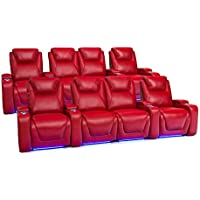 Seatcraft 2212 Equinox Leather Home Theater Seating Power Recline with Adjustable Powered Headrests, Two Rows of 4 with Middle Loveseat, Red