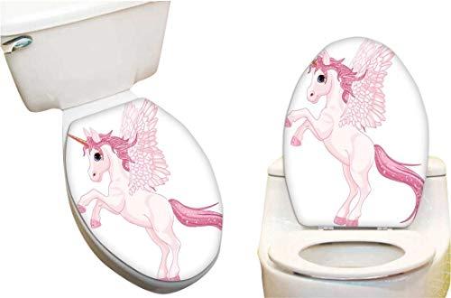 Vinyl Toilet Lid Decal Pink Unicorn Pegasus Fashion Toilet Seat Wall Sticker Decals Vinyl Art 11