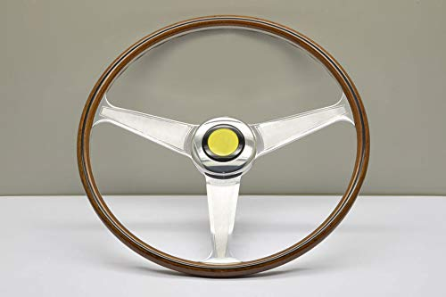 (Nardi Steering Wheel - Vintage Replica - 400mm (15.75 inches) - Mahogany Wood with Dished Spokes with Guilloche - Ferrari from 1959 to 1965 - Part # 5819.40.3001)