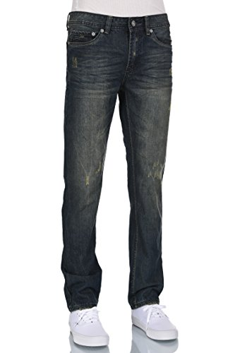 Eagle Men blue Low rise slim straight distressed medium blue jeans 36W X 30L