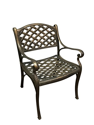 DC America DC3000-BR La Jolla Dining Chair with Mesh Design Cast Aluminum, La Jolla Bronze (Patio Columbus Bar)