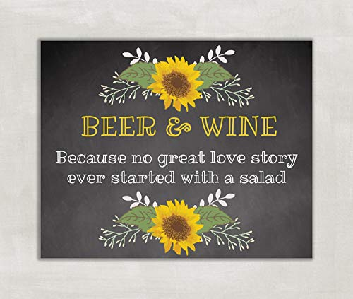 Wedding, Shower Table Sign Beer and Wine Sign Rustic Chalkboard Sunflowers 8x10 ((UNFRAMED))