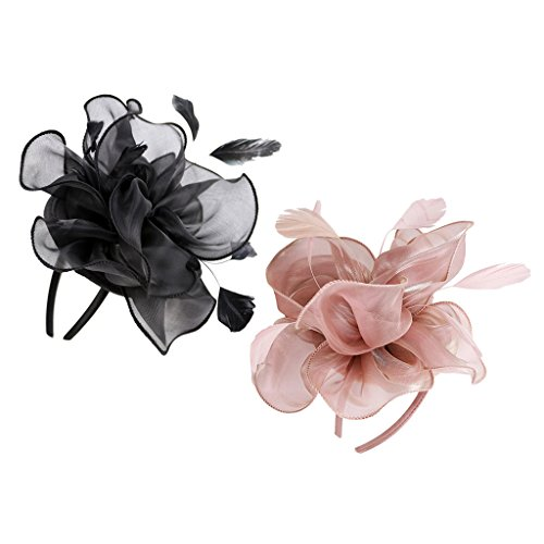 Price comparison product image Prettyia 2 x 1920s Gatsby Feather Hat Clip Fascinator Charleston Party Flower Headwear 16 x 20 x 8cm