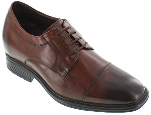 CALTO G60110-3 inches Taller - height Increasing Elevator Shoes (Dark Brown Lace-up Cap-Toe)