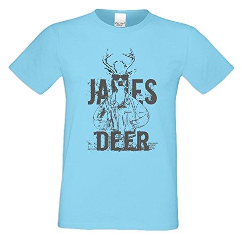 Wiesn T-Shirt - Cooler Hirsch James Deer grau Shirt Farbe hellblau - Funshirt für's Oktoberfest statt Lederhose und Dirndl