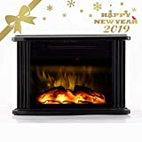 Warmtec 750W/1500W 14'' Mini Electric Fireplace Heater Tabletop Portable Room Space Heater (Metal)
