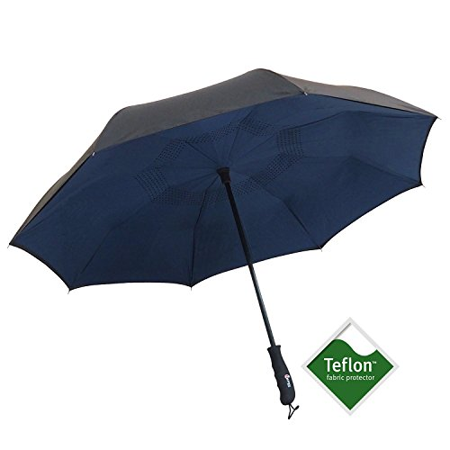Automatic Open Reverse/Inverted Umbrella (Black/Navy Blue) - 1