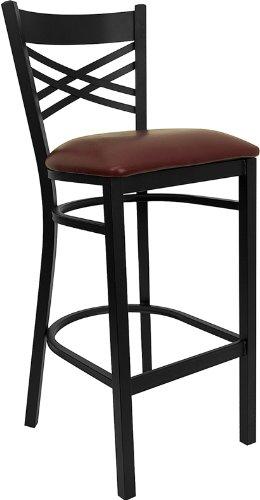 Flash Furniture HERCULES Series Black ''X'' Back Metal Restaurant Barstool - Burgundy Vinyl Seat