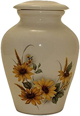 Sunflower Urn- Cremation Urn or Keepsake for Ashes - Hand Made Pottery  (Small 57 Cubic inches)