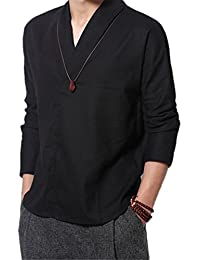 Mens Chinese Style Stand Collar Solid Color Pullover Linen Shirts