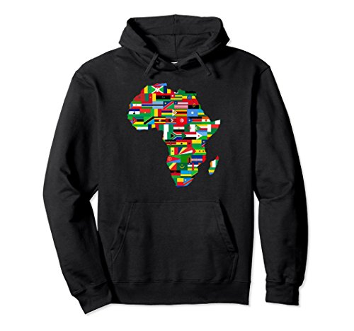 Unisex Africa Hoodie Proud African Country Flags Continent Love Medium Black