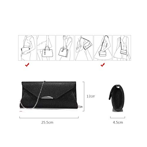 bfd66f582b2 Evening Bags and Clutches for Women Shiny Chain Purse Party Wedding Prom  Classical Black