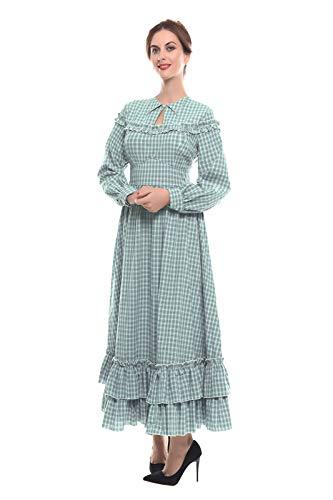 NSPSTT Women Girls American Pioneer Colonial Dress Prairie Costume (Medium, Green 2) -