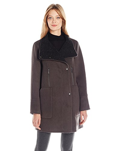 Elie Tahari Women's Laura Oversized Wool Zip Coat, Deep Mocha, S
