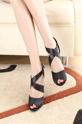 Abby Q-8061 Womens Latin Shoes Ballroom Dance 3 and 3.4Custom Heel Shoes Black RS1yxIe