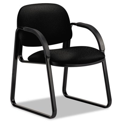 Sensible Seating Series Guest Arm Chair, Tectonic Fabric, Black, Sold as 1 Each - Chair Black Tectonic Fabric