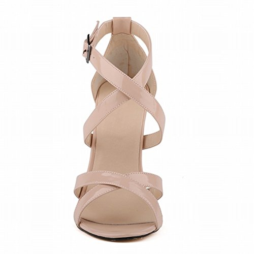 HooH Mujer Tacón alto Verano Sandalias Cruz Peep Toe Gladiator Zapatos de tacón Sandalias Beige