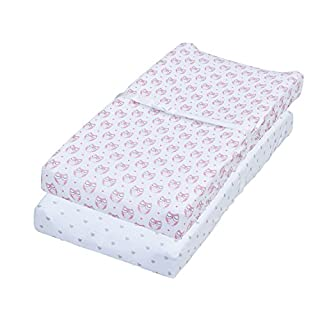 Jomolly Changing Pad Covers, 2 Pack Pink Owls & Hearts, Fitted Soft Cotton Table Sheets