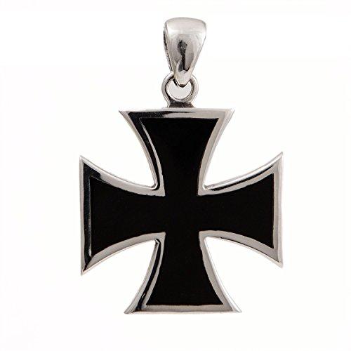 Iron Cross Pendant Sterling Silver 925 Black Enamel