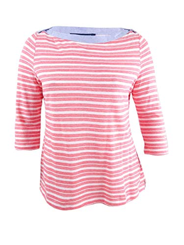 (Tommy Hilfiger Womens Striped Boat-Neck Casual Top Red XL)