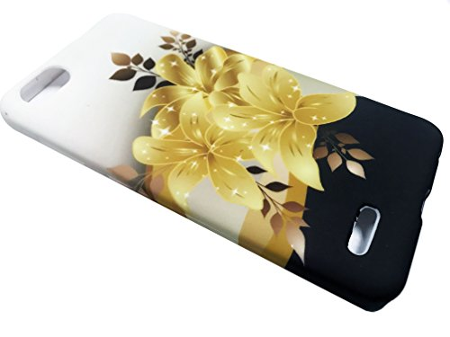 For ZTE Avid 557 Consumer Cellular Soft Flexi TPU Skin Protective Case Phone Cover + Gift Stand (TPU Gold Lily) (Cover 557)