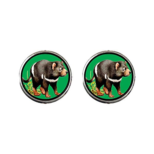 (GiftJewelryShop Silver Plated Tasmanian Devil Photo Stud Earrings 10mm Diameter)
