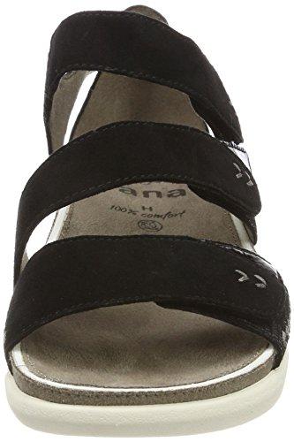 Jana 28600, Sandalias de Talón Abierto Para Mujer Negro (Black Suede)