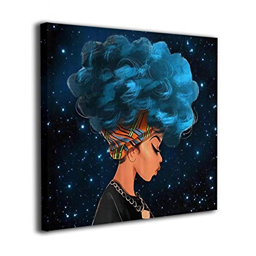 - African Women with Blue Hair Painting Canvas Wall Art Squidward Paintings Abstract Modern Style for Living Room Bedroom Bathroom
