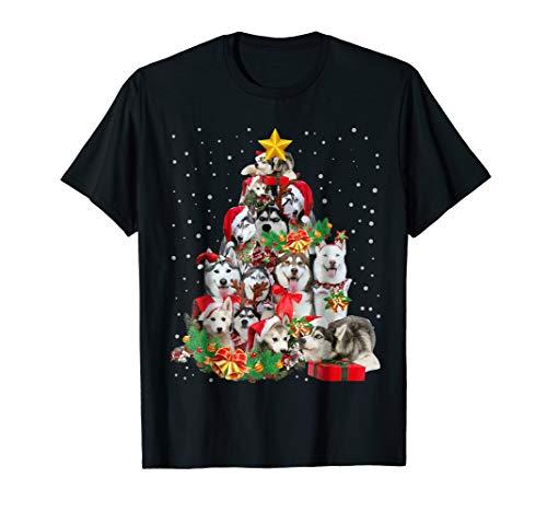 Siberian Husky Christmas Tree T Shirt Xmas Gift Dog Lover
