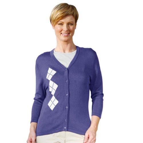 Monterey Club Ladies Asymmetrical Argyle V-Neck 3/4 Sleeve Cardigan #6163 (Iris Blue/White, Large)