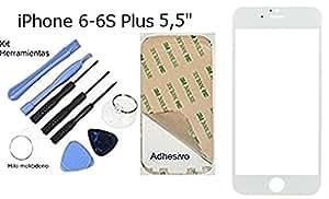 Cristal Exterior, Pantalla Tactil iPhone 6 / 6S Plus 5,5 Pulgadas Blanca Mas Kit de Sustitucion Completo