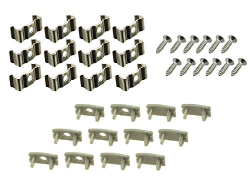 Muzata LED Channel Mounting Clips And End Caps Suit for Most U Shape Aluminum Channel in the Market,12-Pack