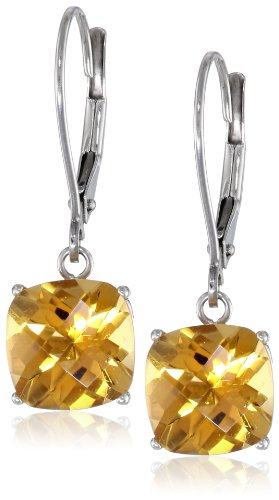 10k White Gold Cushion Checkerboard Cut Citrine Leverback Earrings - Citrine Earrings Checkerboard