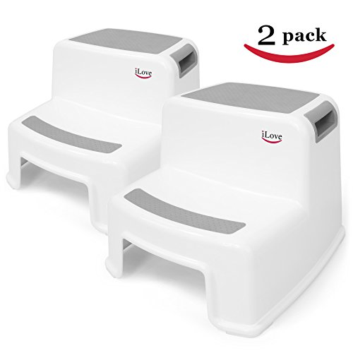 2 Step Stool for Kids (2 pack) | Toddler Stool for Toilet Potty Training | Slip Resistant Soft Grip for Safety as Bathroom Potty Stool and Kitchen Step Stool | Dual Height & Wide Two Step | by iLove