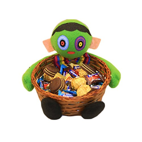 Lightclub Halloween Holder Pumpkin Ghost Doll Bamboo Basket Party Decoration Candy Bowl -