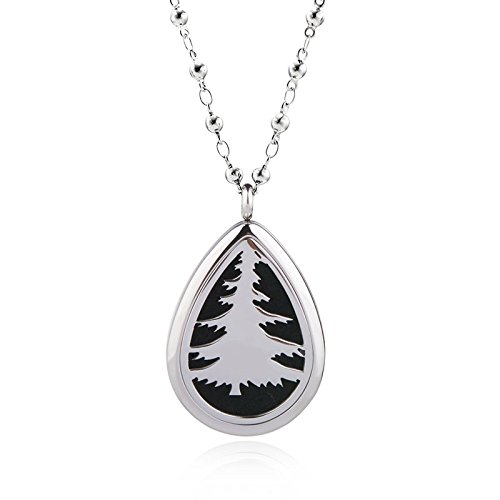 EVERLEAD Stainless Steel Water drop Essential Oils Diffuser Magnetic Locket / Carving Aromatherapy Necklace