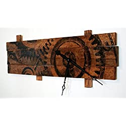 Extra Large Wall Clock with Clock Gears Art on Stained Distressed Wood Boards