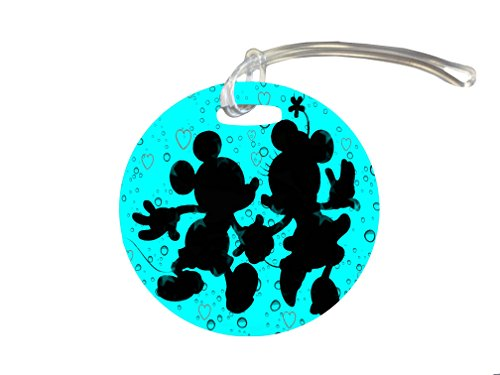 Cute Mice Silhouettes Holding Hands Blue Background with Hearts Design Print Image 4-inch Luggage/Bag Tag by Trendy Accessories