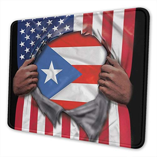 Gaming Mouse Pad Puerto Rico Flag American Flag Ripped Rectangle Non-Slip Rubber Mouse Pads Mousepad Mat for Office/Computer/Laptop 10 X 12 Inch