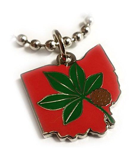 OSU Ohio State University Buckeyes Leaf Pendant Necklace w/ball chain ()